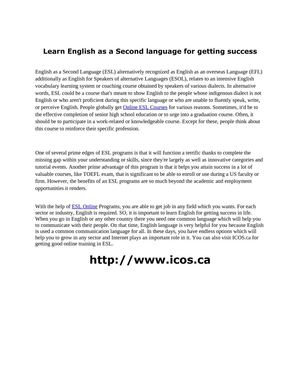 Learn English as a Second language for getting success