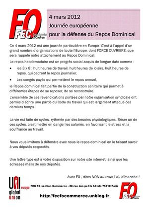 Tract pour le 4 mars 2012 JOURNEE DE DEFENSE DU REPOS DOMINICAL