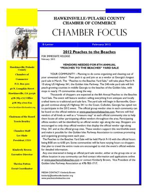 February 2012 Hawkinsville Chamber Newsletter