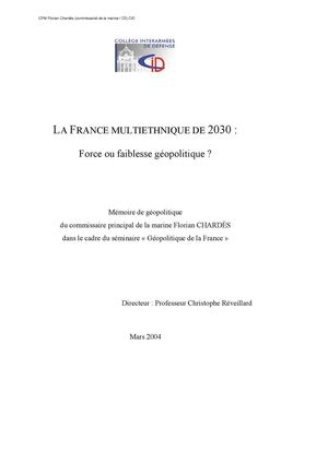 LA FRANCE MULTIETHNIQUE DE 2030