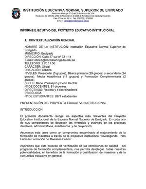 Calaméo Informe Ejecutivo Del Proyecto Educativo Institucional