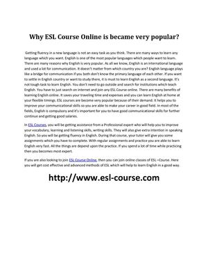 Why ESL Course Online is became very popular?