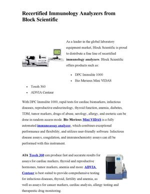 Recertified Immunology Analyzers from Block Scientific