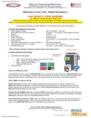 SEM 5140C/4PB NSA High Security Shredder - Premium Bundle Spec Sheet