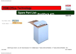 HSM ProfiPack 425 Cardboard Shredder Spare Parts