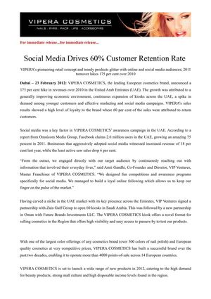 Social Media Drives 60% Customer Retention Rate