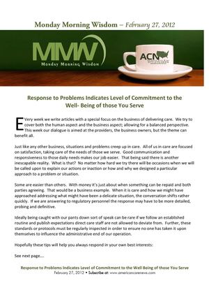 How we Respond to Problems says How Much We Care - MMW 02-27-2012