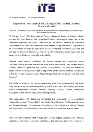 Capinnova Investment Bank Deploys ETHIX to Yield Islamic Finance Growth
