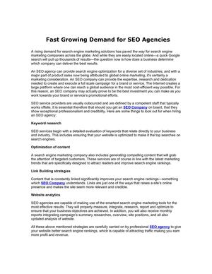 Fast Growing Demand for SEO Agencies