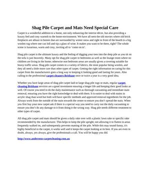 Shag Pile Carpet and Mats Need Special Care