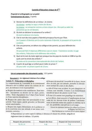 controle education civique 6eme le college