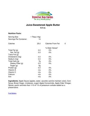 Nutrition Facts - Juice Sweetened Apple Butter