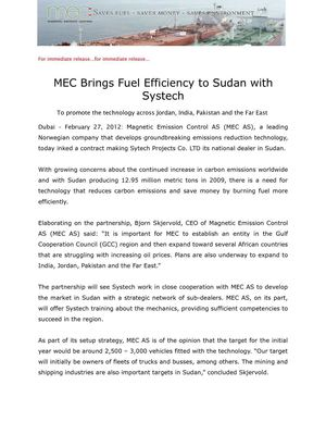 MEC Brings Fuel Efficiency to Sudan with Systech