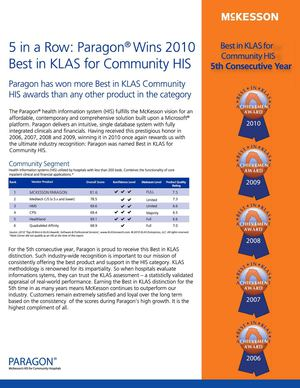 5 in a Row: Paragon Wins Best in KLAS 2010 for Community HIS