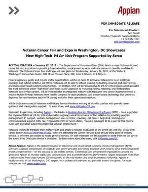 Veteran Career Fair and Expo in Washington, DC Showcases New High-Tech VA for Vets Program Supported by Serco