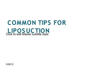 Common Tips For Liposuction