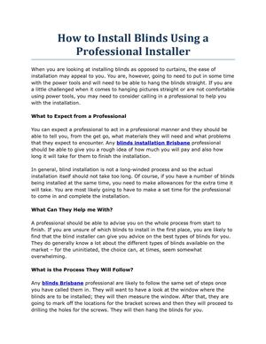 How to Install Blinds Using a Professional Installer