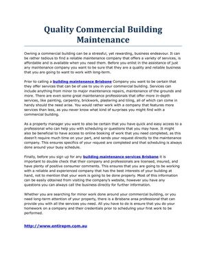 Quality Commercial Building Maintenance