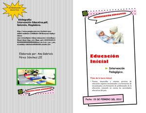 Intervenciòn educativa