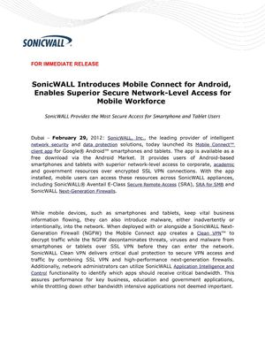 SonicWALL Introduces Mobile Connect for Android, Enables Superior Secure Network-Level Access for Mobile Workforce