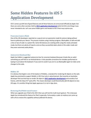 Some Hidden Features In iOS 5 Application Development