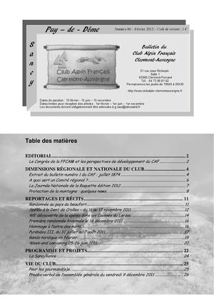 Bulletin 80 CAF Clermont-Auvergne (mars 2012)