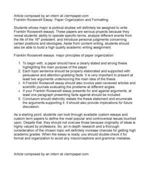Calamo  Franklin Roosevelt Essay Paper Organization And Formatting Franklin Roosevelt Essay Paper Organization And Formatting