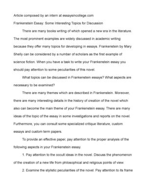frankenstein essay some interesting topics for discussion frankenstein essay some interesting topics for discussion