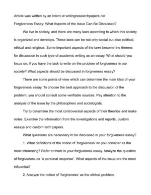 Forgiveness Essay: What Aspects of the Issue Can Be Discussed?