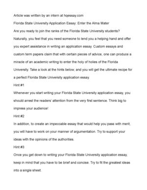 Calamo  Florida State University Application Essay Enter The Alma  Florida State University Application Essay Enter The Alma Mater Japanese Essay Paper also Sample Business School Essays  Speech Writing Services Online