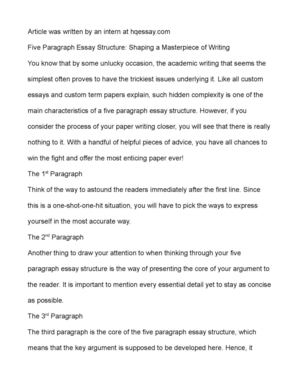 five paragraph essay structure shaping a masterpiece of  five paragraph essay structure shaping a masterpiece of writing