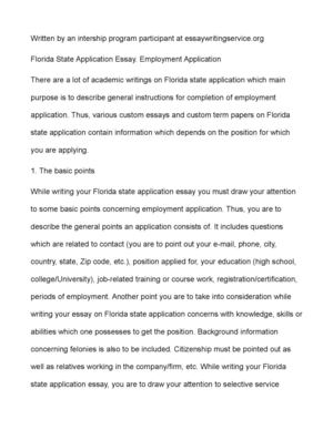 Health Essay Example Florida State Application Essay Employment Application How To Write Essay Papers also Mahatma Gandhi Essay In English Calamo  Florida State Application Essay Employment Application Research Essay Thesis Statement Example