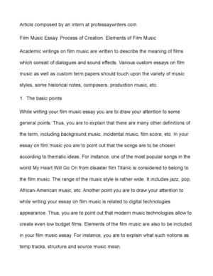 Calaméo - Film Music Essay. Process of Creation. Elements of Film Music