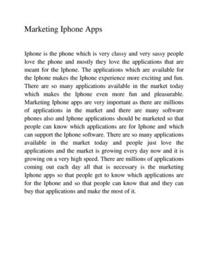 Marketing Iphone App