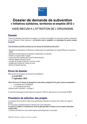 dossier subvention fondation de france