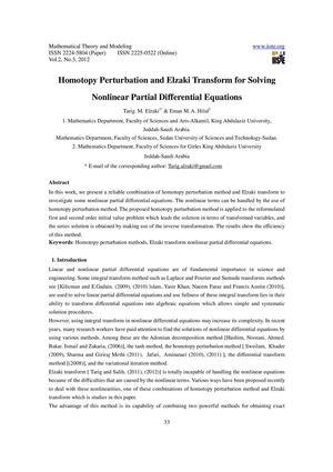Calaméo - Homotopy Perturbation and Elzaki Transform for