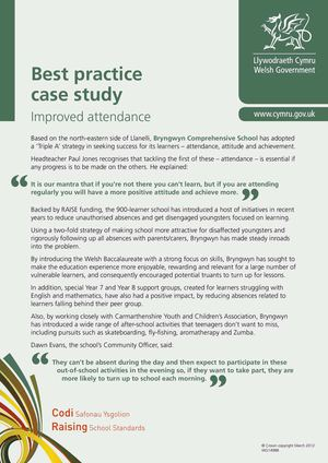 Bryngwyn School - Best Practice - Improved Attendance - March 2012