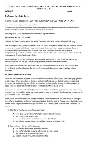 Calaméo - EVALUACION CIENCIAS GRADO SEXTO PRIMER PERIODO