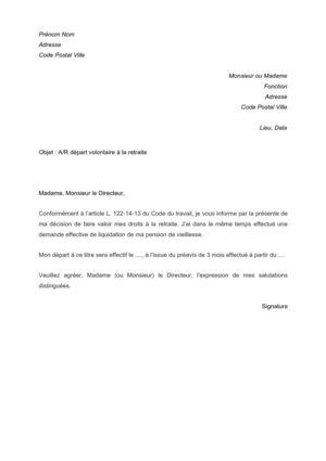 modele lettre de demission retraite Modele Lettre Depart Retraite Volontaire | sprookjesgrot modele lettre de demission retraite