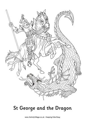st_george_and_the_dragon_colouring_page