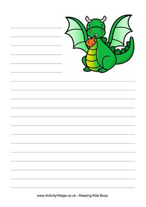writing_paper_cartoon_dragon_lined