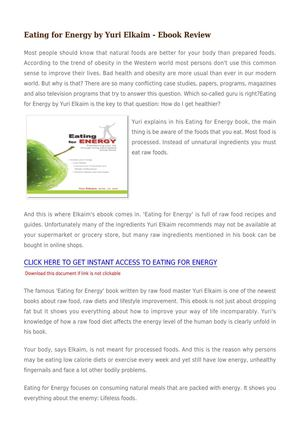 Eating For Energy By Yuri Elkaim - Ebook Review