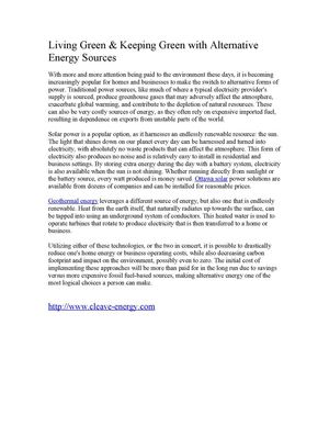 Living Green & Keeping Green with Alternative Energy Sources