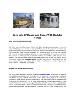 Save Lots Of Money And Space With Modular Homes