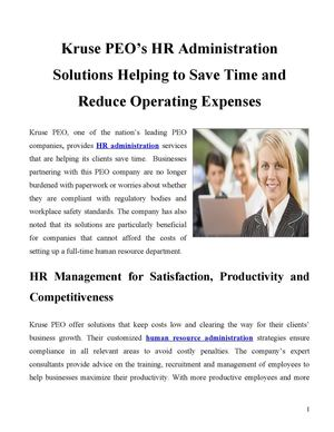 Kruse PEO's HR Administration Solutions Helping to Save Time and Reduce Operating Expenses