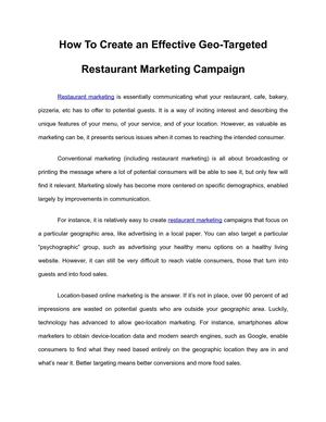 How To Create an Effective Geo-Targeted Restaurant Marketing Campaign
