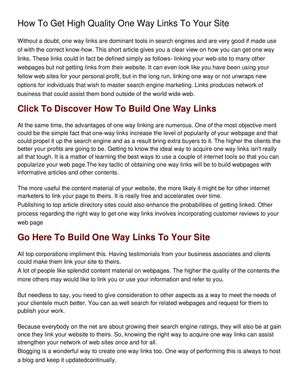 How To Get High Quality One Way Links To Your Site