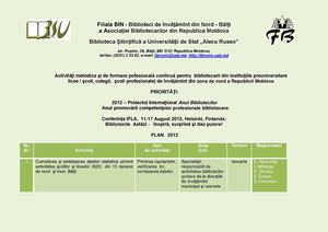 Filiala BIN Program de activitate 2012