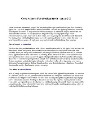 Core Aspects For crooked teeth - An A-2-Z