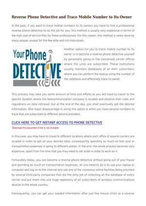 Reverse Phone Detective And Trace Mobile Number To Its Owner